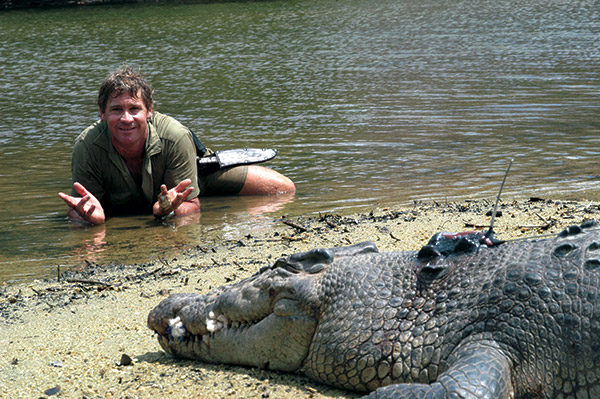 Steve Irwin laying in the water with a croc.
