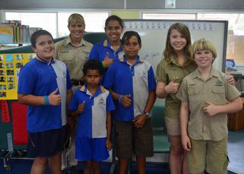 School kids learn about crocs.