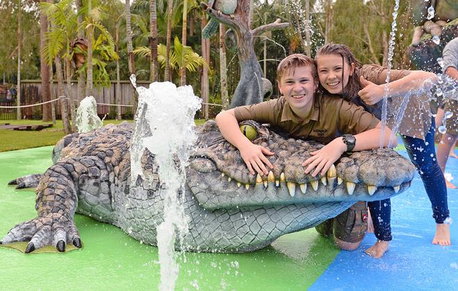 Bindi and Robert at the water park.