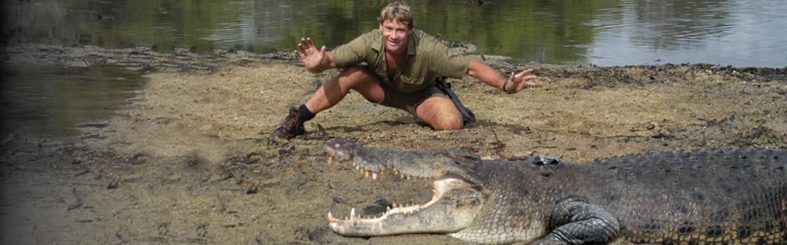 Steve Irwin and a crocodile.
