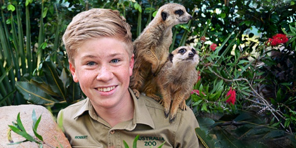 Robert Irwin with Meerkats on Shoulder
