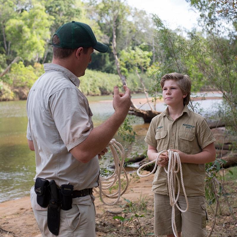 Robert Irwin with a zoo employee.